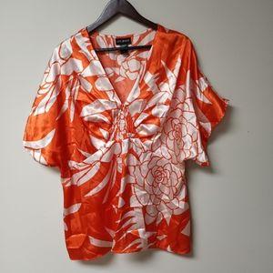 Lane Bryant Orange And White Shirt